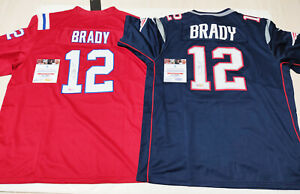 """New England Patriots #12 """"GOAT"""" Autographed Red+Navy 2 Jerseys + COA, Certified"""