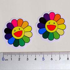 2 x Rainbow Daisy Flower art Takashi Murakami mini decal vinyl sticker #4543