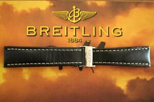BREITLING 442X 24-20 BLACK CALF DEPLOYMENT BUCKLED WATCH BAND WATCHBAND STRAP
