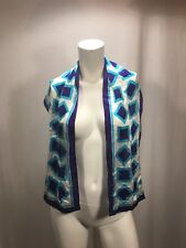 "Ellen Tracy 52""x 10""  Scarf Stunning Colours Vintage Blue Green White Geometric"