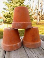 "Vintage 3 Terra Cotta Pots Planters 4"" Ht x 4 1/2"" Used Mineral/ Soil Deposits"