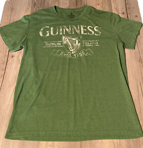 Guinness Official Merchandise Dublin Ireland Green Ss T Shirt Men's Sz L