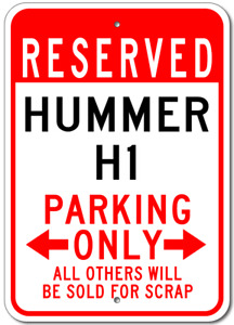 Custom HUMMER H1 Parking Sign Personalized Aluminum Metal Garage Wall Plaque