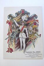 Vintage Printer's Sample Card w/ Woman In Military Dress w/ Sword & Jesters *