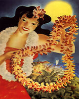 POSTER HAWAII WELCOME HULA GIRL BEACH SURF CANOE SAILING VINTAGE REPRO FREE S/H