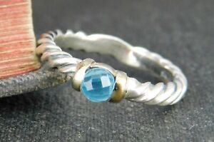 David Yurman 925 Sterling Silver & 14K Yellow Gold Twisted Cable Blue Topaz Ring