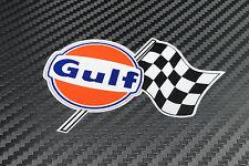 Gulf Checkered Flagg Aufkleber 150 mm sticker Zugelassen von Gulf Oil UK
