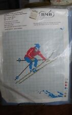 """Vtg rare BMB Norway cross stitch wool-panama Kit 215 ski jumper snow 15x18"""" NEW"""