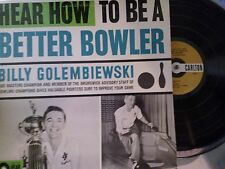 """Billy Golembiewski """"Hear How To Be A Better Bowler"""" Bowling instruction LP rare"""