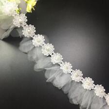 2 Yards Stickerei Spitze Perle Net Garn Nähen Hochzeitskleid Zubehör