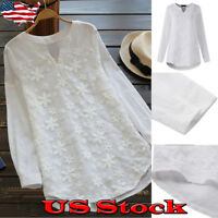 Women's Summer Long Sleeve Loose Casual Blouse V Neck Tunic T-Shirt Tops Plus