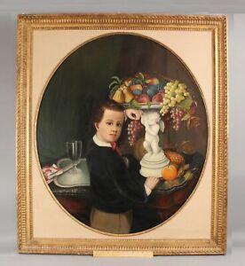 Antique Life-Sized 19thC American Folk Art Portrait Painting of Boy & Fruit