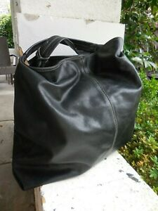 FURLA BLACK BUTTER SOFT LEATHER BIG HUGE TOTE BAG VGC