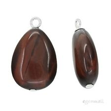 2 Red Tiger's Eye In Sterling Silver Pear Drop Pendant Charm Earring Beads 98043