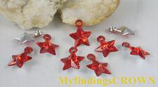 350 pcs Red star acrylic charms W1732