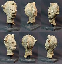 Art primaire Africain 1890 Tête ancienne Lobi burkina 22c terre cuite déco socle
