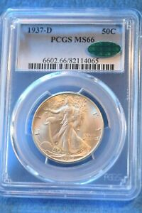 1937-D WALKING LIBERTY HALF DOLLAR PCGS CERTIFIED MS--66 CAC OUTSTANDING!! #37