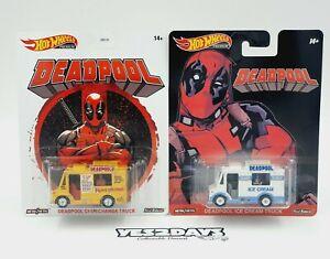 2 x Hot Wheels DEADPOOL CHMICHANGA & Ice-Cream Truck NEW Retro Entertainment