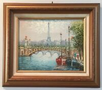 Vintage Oil Painting On Board Of Eiffel Tower And Paris France Signed Eli Hilu