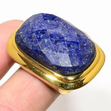 Gold Plated Easter Fashion Jewelry Gifts Natural Afghan Lapis Lazuli Mens Ring