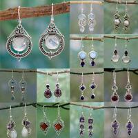 925 Silver Dangle Drop Earrings Ear Hook Turquoise Moonstone Women Jewelry Gift