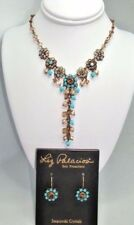 New Liz Palacios Champagne Pearls & Turquoise color Crystal Necklace & Earrings