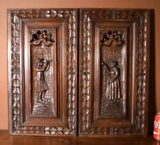 Pair of French Antique Breton (Brittany) Panels in Solid Chestnut Wood