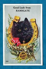 C1930s PULL-OUT VIEWS OF RAMSGATE PC LUCKY BLACK CAT WITH HEATHER & HORSESHOE