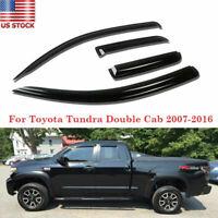 Window Visor Rain Guard Shade Tint Set Smoke for 07-18 Toyota Tundra Double Cab