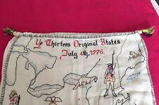 Antique Vintage Original Textile Needlepoint Sampler  Embroidered Linen Sack