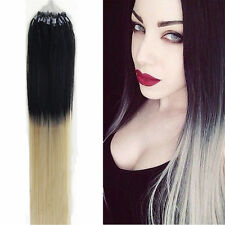 "16""18""20""22""26""Remy Human Hair Extensions DIY Micro Ring Loop Bead Tip Real Hair"