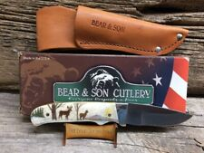 BEAR & SON FIXED BLADE KNIFE w COLOR SCRIMSHAW by HARBOUR of 2 DEER a BUCK & DOE
