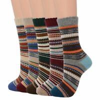 Casual Men Soft  Winter Socks Thick Wool Blends Warm Retro Style Colorful 5pairs