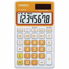 Casio SL-300V-OE Carrot Orange Wallet Style Pocket Calculator, 8 Digit Display