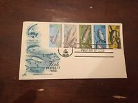 1986 Fish Booklet Pane Block First Day Cover