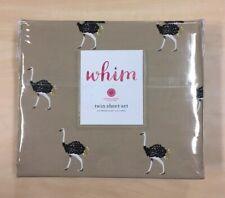 Martha Stewart TWIN Whim 100% Cotton Kids Sheet Set Ostrich Brown 200 Count NWT