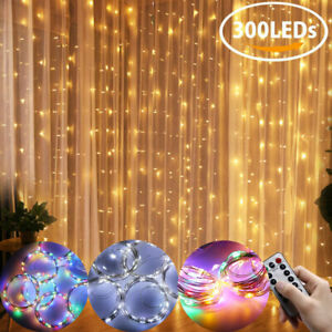 300LED USB Curtain String Lights Copper Wire Remote Control Christmas Out Indoor