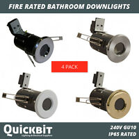 4 X FIRE RATED BATHROOM DOWNLIGHTS IP65 SHOWERLIGHTS CEILING GU10 LIGHTS LED