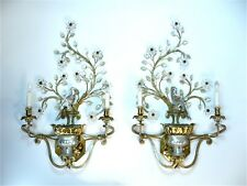 Set of 2 Large MAISON BAGUES Gilt-Metal Crystal Glass SCONCES Wandleuchter 1960s