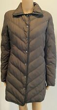 MISSONI brown quilted  down coat w/ leather trim SZ I 40/ US 6