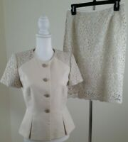 Tahari ASL LUXE~Woman Size 4~Beige/Gold Lace Skirt/Suit Lined Office/Evening SS.