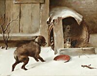 In from the Cold by Walter Hunt. Dog Art Repro Print choose Canvas or Paper