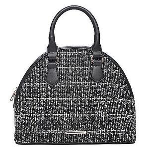 Damen Handtasche Tweed Bowling Tasche klein Schwarz Weiss Stoff und Leder Optik
