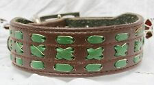 """SOFT Suede Lined Leather Lurcher Dog Collar Two Tone BROWN / GREEN 11.5"""" to 15"""""""