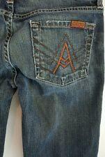 Womens 7 FOR MANKIND A Pocket Flare Mercer Dark Wash Jeans Pants 25 - 25x31 N2