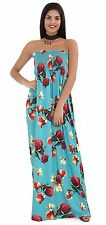 Womens Strapless Maxi Dress Ladies Sheering Boob Tube Bandeau Long Size 12-22 Turquoise Floral 2xl UK 20-22