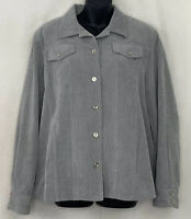 Alfred Dunner Womens Corduroy Blazer Button Up Jacket Gray Lined Coat Size 14