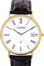 Gents 9ct Gold Wristwatch - Roman Numerals and Date - Black Leather Strap