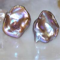 15-16mm Flawless Multi-color Baroque Petal Pearl Earring Silver Ear Stud jewelry