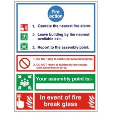 Jalite Glow in the Dark Fire Action Notice sign *DIS-CONTINUED* 5563